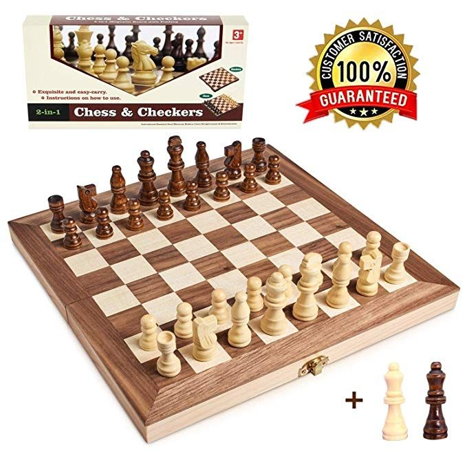Wooden Chess Set For Kids And Adults Folding Chess Board Travel