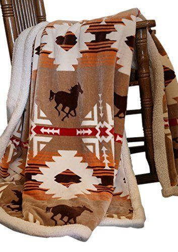 """Blanket Throw Soft Sherpa Plush Horse Silhouettes Brown Background Warm 54""""x68"""" #Carstens #Moroccan"""