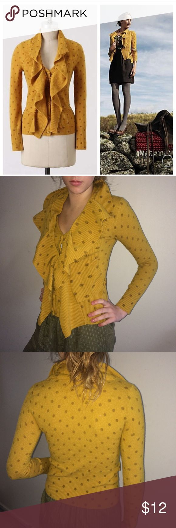 """Anthropologie Moth Van Wrinkle Sweater By Moth. Anthropologie's """"Van Wrinkle"""" sweater.  Cozy up for 100 years in a hearty wool vest topped by a sleep- mused Cardigan. Mustard yellow. 91% Wool, 8% Nylon, 1% Spandex. Hand wash cold. For reference, my model is 5 feet 8.5"""" tall and weighs 120 pounds. This sweater is in very good condition EXCEPT there are several small holes along the back, some of which can be seen in the last photo. Price is reduced accordingly. U Anthropologie Sweaters…"""