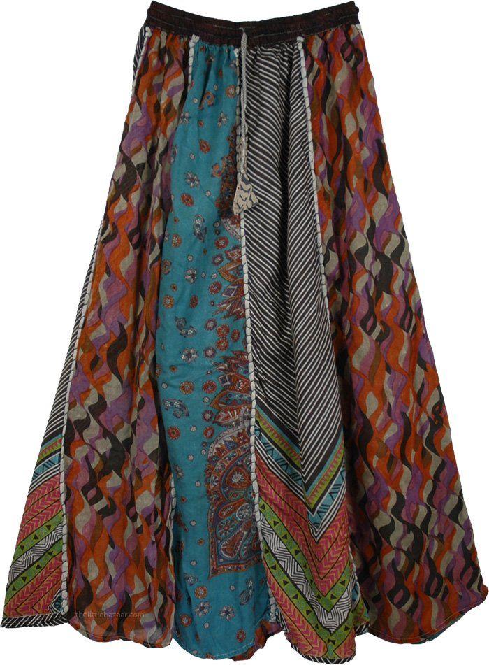 Designer Panel Hippie Cotton Skirt | Clearance | patchwork, Sale|14.99|