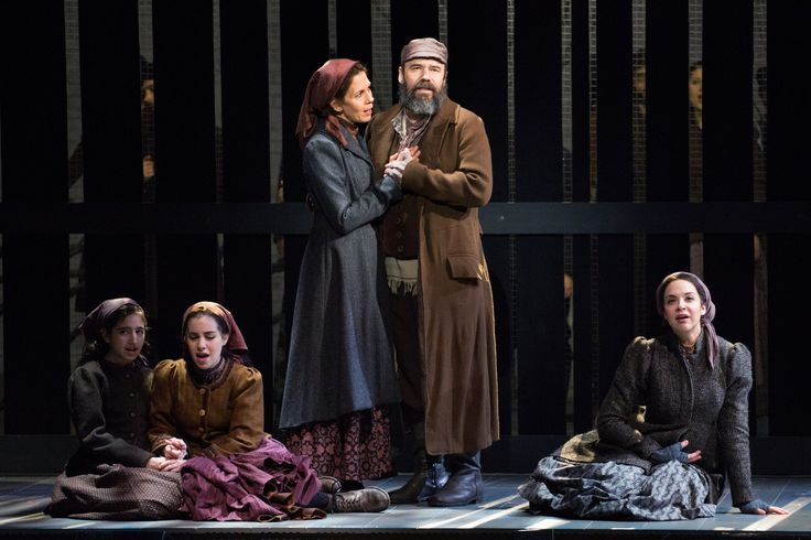 Hayley Feinstein as Bielke, Jenny Rose Baker as Schprintze, Jessica Hecht as Golde, Danny Burstein as Tevye, and Alexandra Silber as Tzeitel in Barlett Sher's revival of Fiddler on the Roof (2015). I want to see this so badly!!