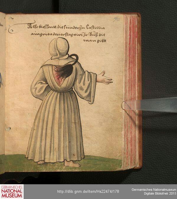 """Kastilianischer Büßer (Geißler) - """"Also biessentt die sünder In Castillia am grien donerstag virr Ir Buß die man gibtt""""  Christoph Weiditz  Trachtenbuch  [1530/1540]"""