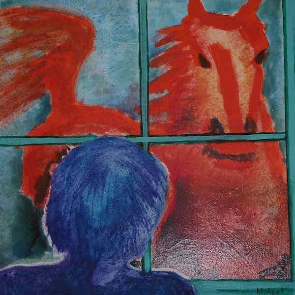 Painting by Manja Apol of 'Nightmare of red horse'. Read more on website.