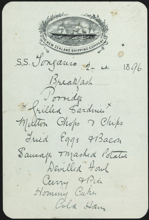 "New Zealand Shipping Company :S.S. ""Tongariro"". Breakfast [menu]. 2.4.1896."