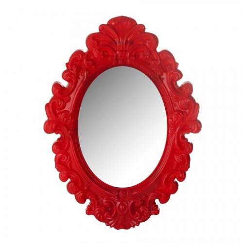 Espelho com estilo rococó antigo, mas com um toque moderno, sua moldura é feita em plástico e na cor vermelha sangue. R$ 73 Dimensões: Total com moldura - 30 x 41 cm / Espelho - 16,5 x 23,5 cm