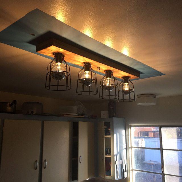 farmhouse wood kitchen light fixture