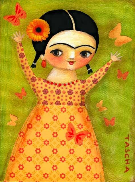 FRIDA kahlo spring time butterflies PRINT of painting by tascha, $15.00
