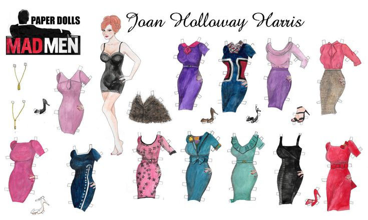 Mad men's watercolor hand drawn Joan Harris printable paper doll by RobertaTomei on Etsy