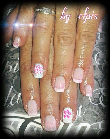 Γαλλικο σε ροζ χρυσοσκονη κ λουλουδακια