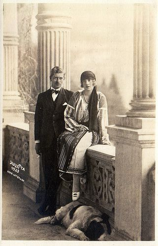 Son of Queen Marie of Romania (previously Princess Marie of Edinburgh) Crown Prince Carol of Romania with his fiance Princess Helena of Greece