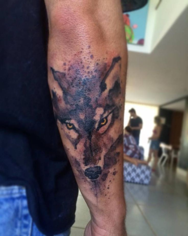 Watercolor style wolf tattoo on Bruno Gagliasso's forearm.