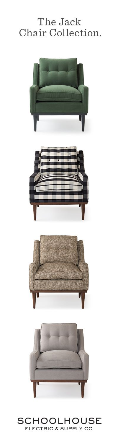 Meet Jack. Thoroughly modern but with understated elegance, Jack has a presence that defies its low-profile stature. A faithful reproduction of one of our favorite vintage finds, every detail – from the splayed hardwood legs and low-slung arms to the subtly tufted cushion – is an ode to mid-century design. | #schoolhouseelectric