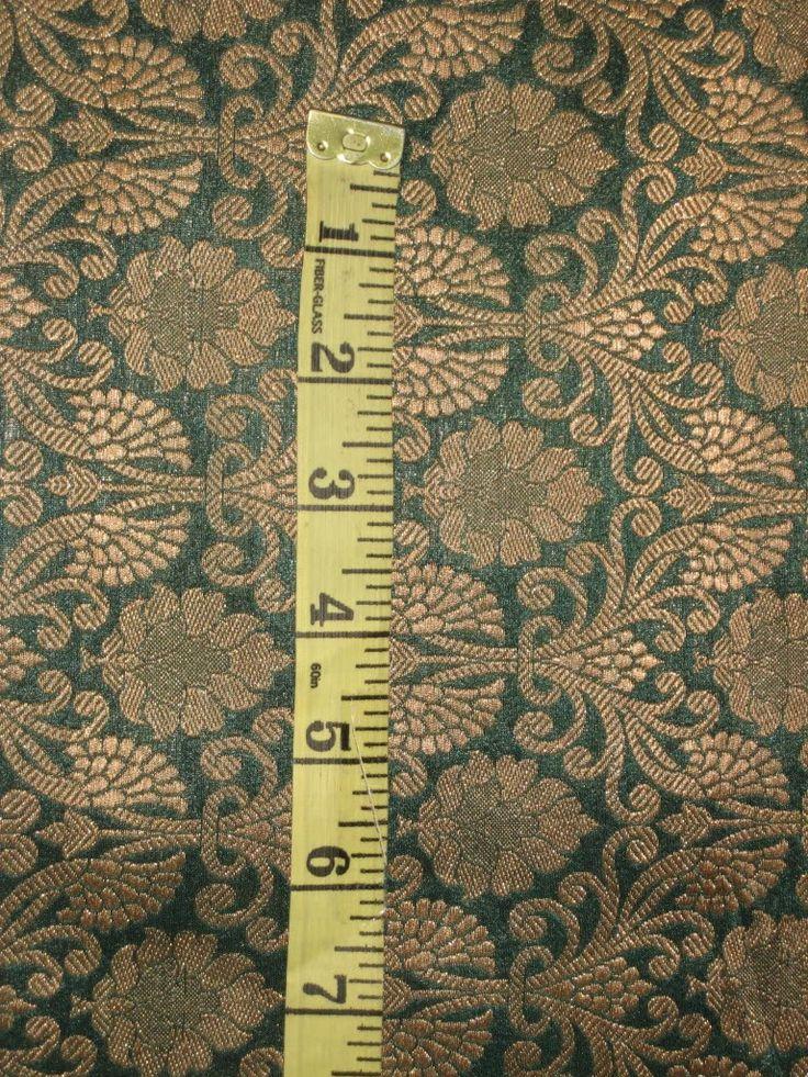 "SILK BROCADE FABRIC Dark Green & Metallic Gold colour 44"""
