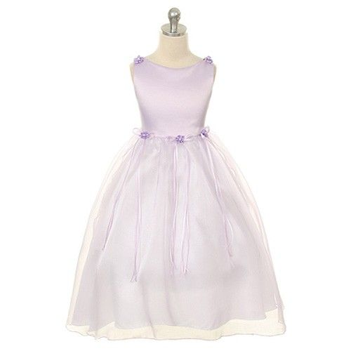 Beautiful calf length classic satin flower girl dress with an organza overay skirt This stunning dress is fully lined in satin and the waist and