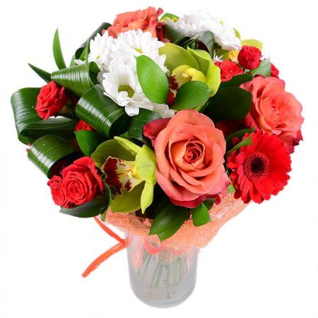 This flower gift miraculously combines roses, gerbera and exotic beauty - orchid!..