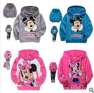 Doprava zdarma, 2013 Retail dětské modré oděvní Mickey chlapcova dívčí top trička mikina s kapucí mikina celé obleky oblečení $8,10