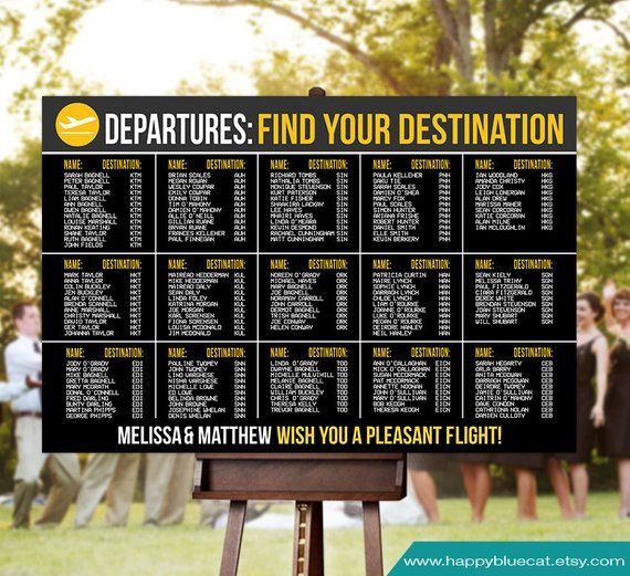 Wedding Seating Chart Rush Service Arrivals Airport Travel