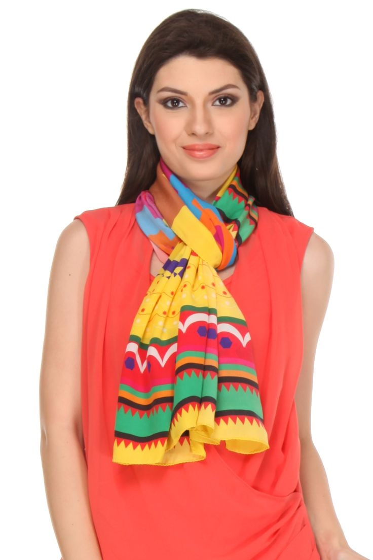 Himachali Topi Scarf This digital printed crepe silk scarf gets its design inspiration from Pahari Topi, a bright & warm woolen cap which forms a part of traditional attire of the Himachali people.