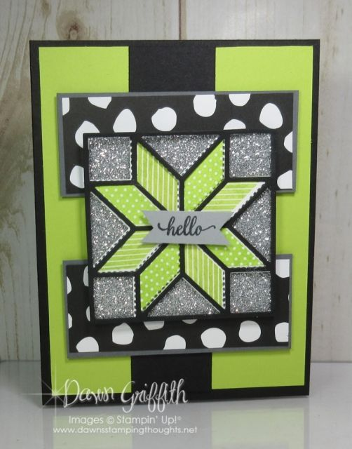 Card Sketch #4 ~ Hello ~ Lemon Lime & Basic Black - Dawn's Stamping Thoughts