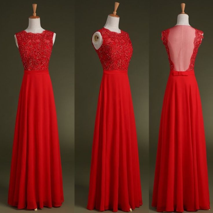 Sleeveless Red Applique Sequins Full length Prom Dress Formal Bridesmaid Gown, See-through Back A-Line Chiffon Full length evening dress. red bridesmaid dress, formal dress long, #wedding #prom
