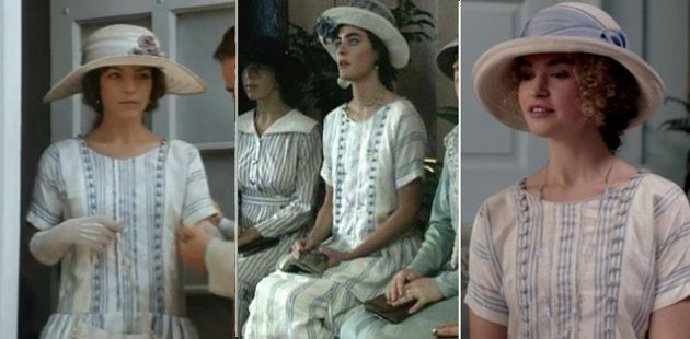 """""""Anastasia"""" vs """"The House of Elliot"""" vs. Lady Rose  This airy white-and-blue dress was worn by Amy Irving in 1986's """"Anastasia: The Mystery of Anan"""" (left). Louise Lombard also wore it in 1991, in """"The House of Elliot"""" (center). And in 2012, we saw it on Lily James in """"Downtown Abbey."""""""
