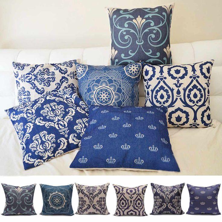 Vintage Luxury Popular Blue Linen Cotton Cushion Cover Square Comfort  Memory Throw PillowCase Car Sofa Cushion
