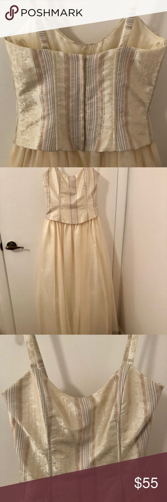 Ivory Jessica McClintock gown Beautiful ballroom gown or prom dress by Jessica McClintock. Size 5. One of a kind! Pink, light blue and gold stripes on the bodice. Worn once, good condition. Jessica McClintock Dresses Prom