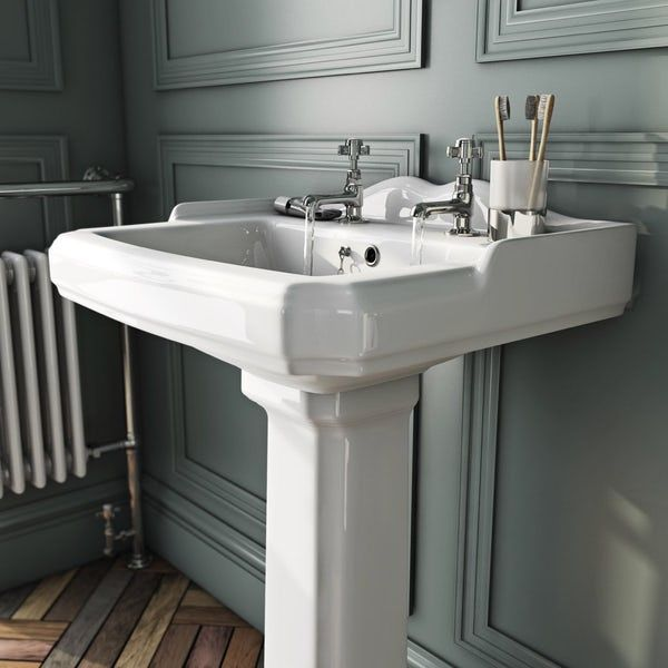 The Bath Co Winchester 2 Tap Hole Full Pedestal Basin 600mm With