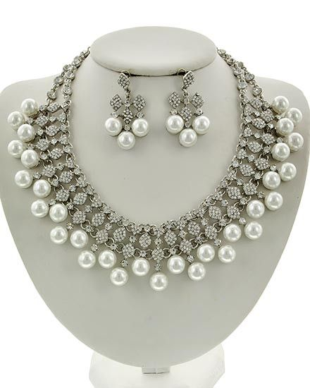 Platinum Pearl & Rhinestone Necklace & Earring Set