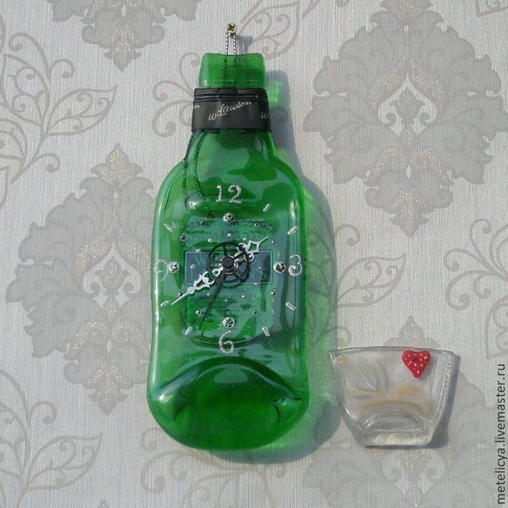Купить Часы настенные Шотландский виски - зелёный, стеклянная бутылочка, романтический подарок