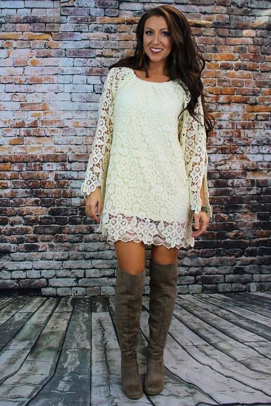 Cream lace Dress- fully lined Small-3XL