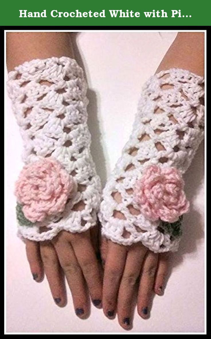 Hand Crocheted White with Pink Rose Fingerless Mittens, Victorian Fingerless Gloves Hand Warmers. Fingerless Victorian lace mittens are crochet with white yarn and a pink rose attached. Mittens are 9 inches in length and are handmade using white and pink acrylic yarn. Easily cleaned, just hand wash and lay flat to dry. Prefect for spring, fall and winter. Fingerless mittens can be made in all sizes and colors, please feel free to email me with any questions you may have. All of our items…