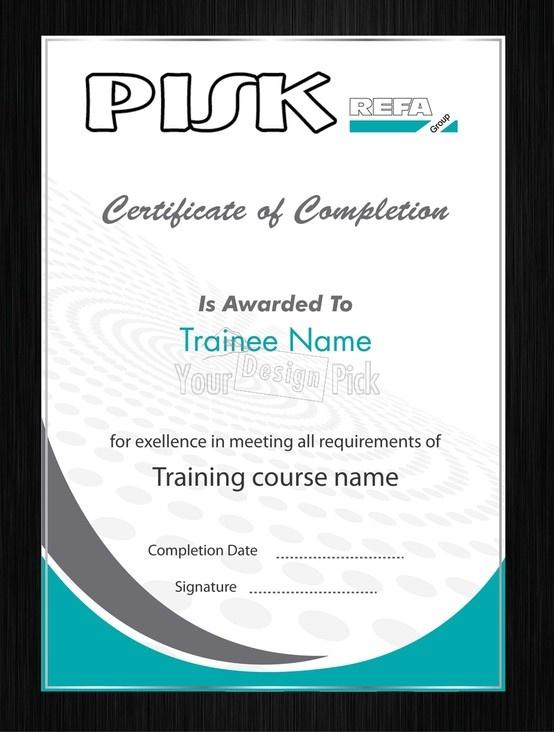 Certificate of completion design for PISK from YourDesignPick
