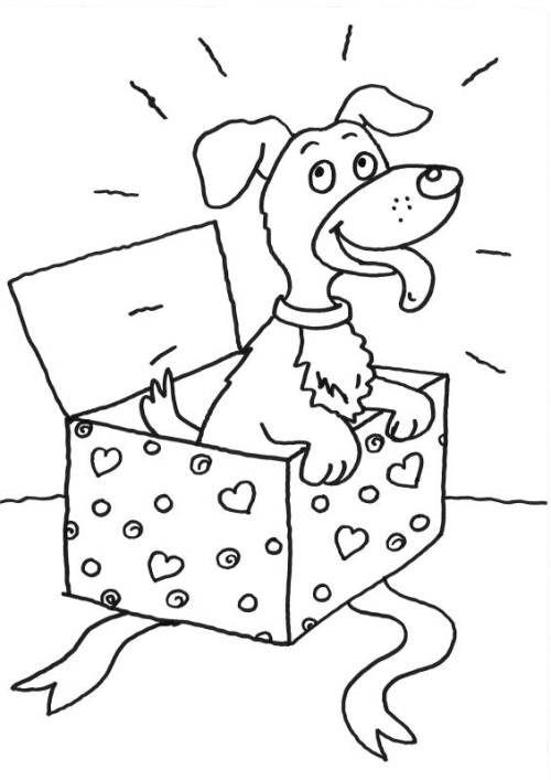 Hunde Hund im Geschenk zum Ausmalen Malvorlage hund
