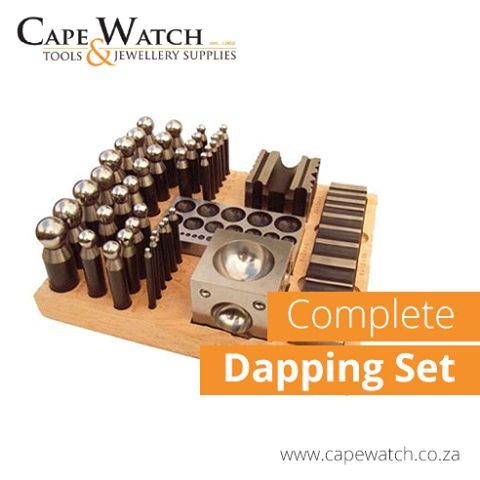 Get Your COMPLETE Dapping Set online! 36 punches and 4 blocks on wood mount.