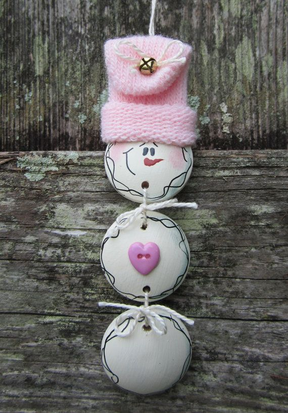 Hand Painted Wooden White Snowman Ornament