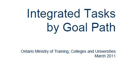 Instructor resource with tasks for adult goal paths including employment (complete an online job application) and apprenticeship (prepare estimate for client)