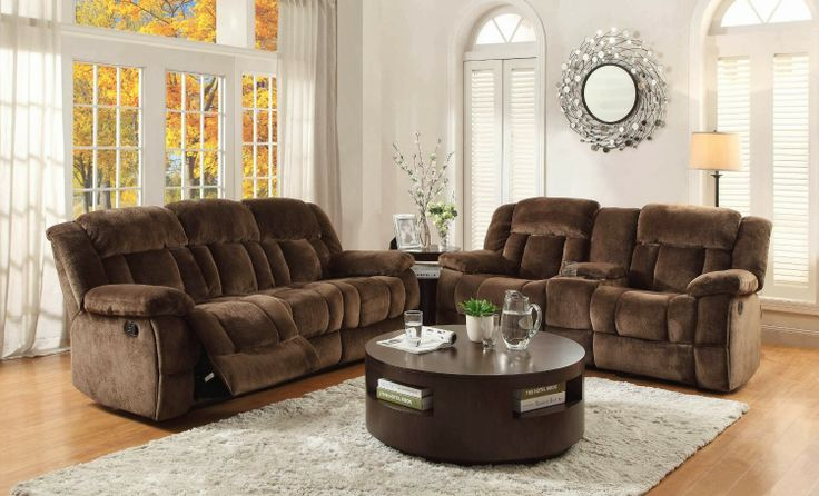 Homelegance 9636-3 Laurelton Textured Plush Microfiber Motion Reclining Sofa, Chocolate Brown Generous seating combined with functional touches makes the Laurelton Collection the perfect addition to your living room.