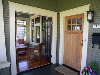 Interesting outdoor entrance to enclosed porch for Enclosed front porch house extension