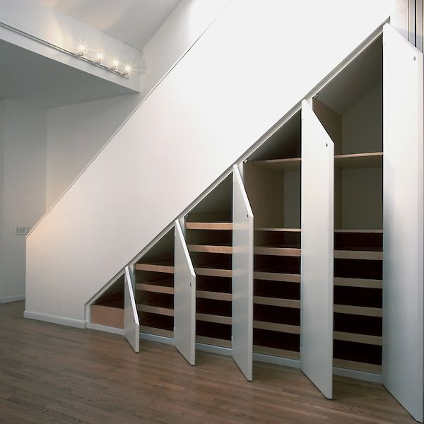 Simple version for under stairs storage. This would totally work if we gutted the basement as it is now. wAaaay better storage! (Plus, no more dark crawling under the stairs to get at my christmas decorations!)