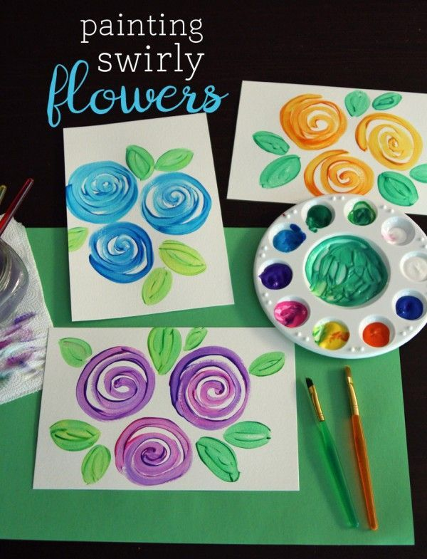 Painting Swirly Flowers - lovely idea and so easy to make!