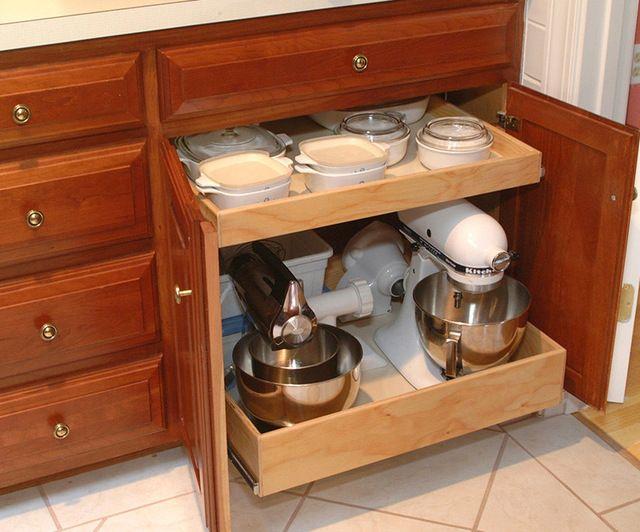 Storage for kitchen appliances...traditional kitchen by Elizabeth Beach Hacking, ShelfGenie Designer