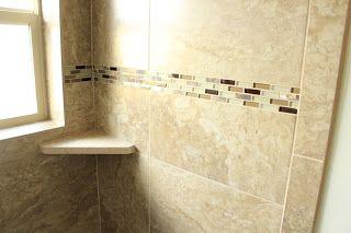 Emser tile called Lucerne Pilatus with a decorative glass strip.