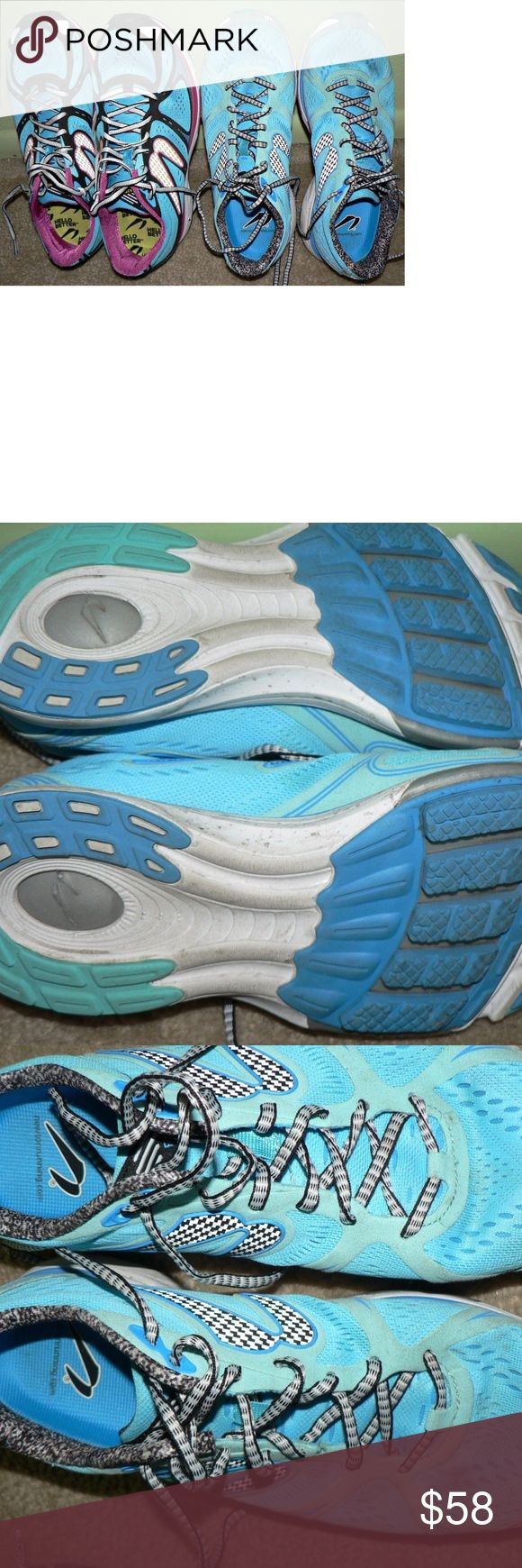 2 Pairs NEWTON Running Shoes Sz 10 Train Fast U Get 2 PAIRS: Newton Running Shoes **Fast** Womens Size 10 Newton Kismet Women Running Blue/Pink  Baby Blue are Newton Fate II  Condition: YES, gently worn. As seen. However, A LOT OF LIFE and A LOT more miles to be put down in these bad boys! NO odor, no funk, nothing falling apart. Photos of the soles. Nothing ruined and no serious stain or dirt. Now on the Fate II's the lace is tied in another hole as seen. Newton Shoes Sneakers