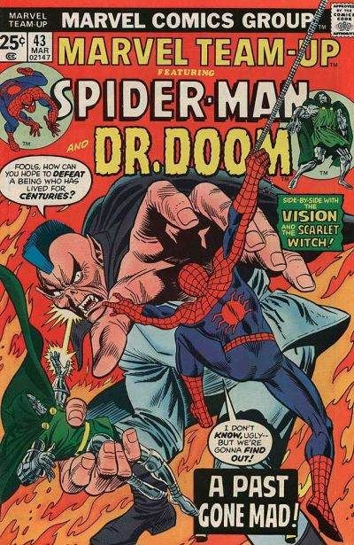 Marvel Team-up Spider-man and Doctor Doom comic book cover.