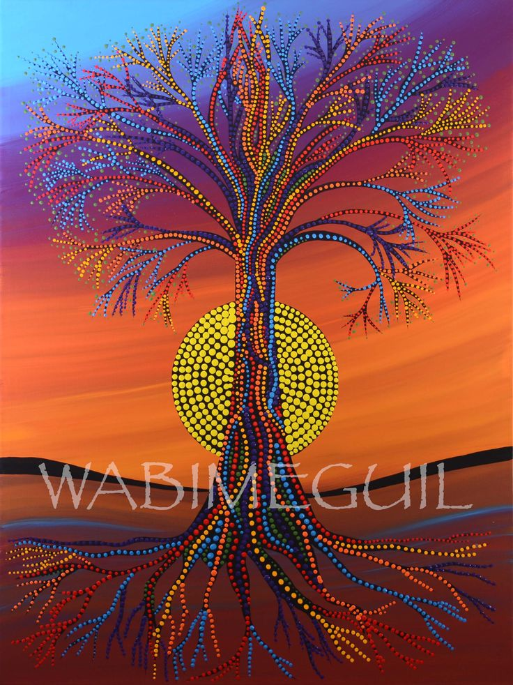 Tree of Life by Wabimeguil New Original 30X40 (SOLD)  All sizes & mediums available in print at wabimeguil.artstorefronts.com/shop-art/art_print_products/tree-of-life-2017