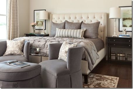 absolutely love this gray bedroom