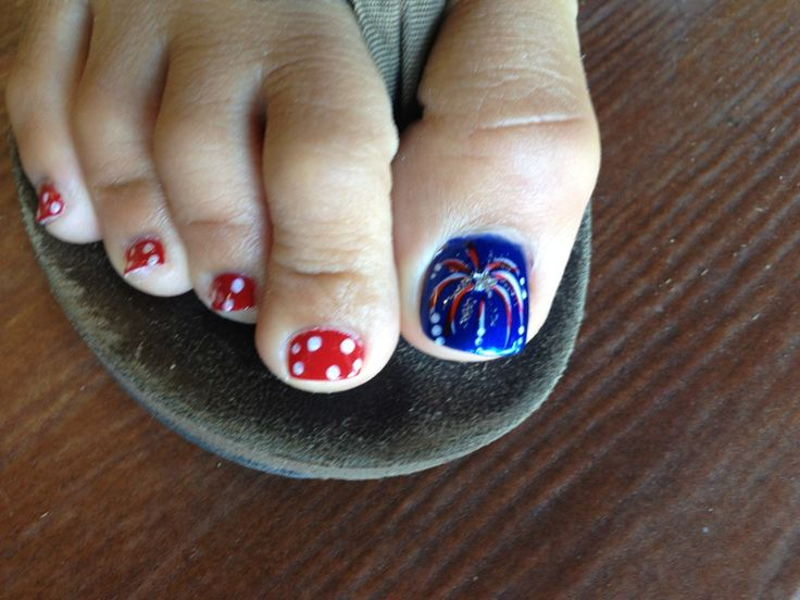 4th of July nails  Regular Polish (red, white, blue), Cascading firework nail art with rhinestone star embelishment, red with white polka dots