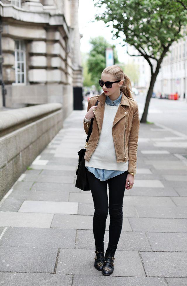 theclotheshorse: Pavlína Jágrová: Outfits, Fashion, Inspiration, Fall Wint, Denim Shirts, Street Styles, Leather Jackets, Pavlína Jágrová, Black Jeans