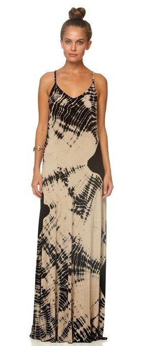 Gypsy05 Black Cream Tie Dye Maxi Dress Front Future Wardrobe